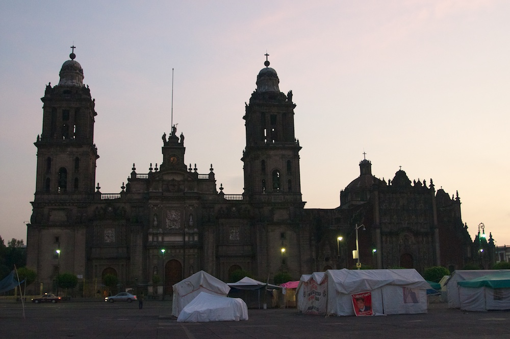 Mexico City Cathedral and Tents by Ralph Velasco