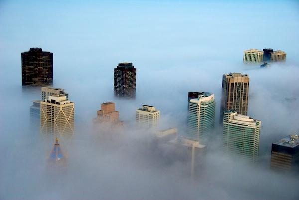 Chicago in the Fog from the John Hancock Building - Copyright 2011 Ralph Velasco