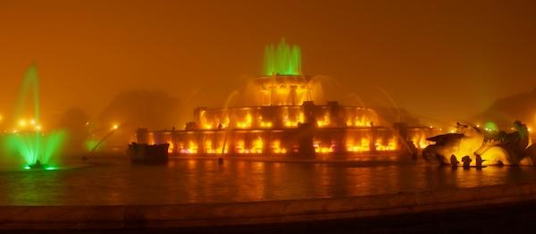 Buckingham Fountain in the Fog at Night in Grant Park, Chicago, Illinois - Copyright 2011 Ralph Velasco 1