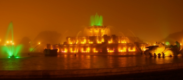 Buckingham Fountain in the Fog at Night in Grant Park, Chicago, Illinois - Copyright 2011 Ralph Velasco 1