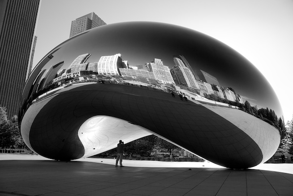 Man Under The Bean in Black and White in Chicago, Illinois - Copyright 2010 Ralph Velasco