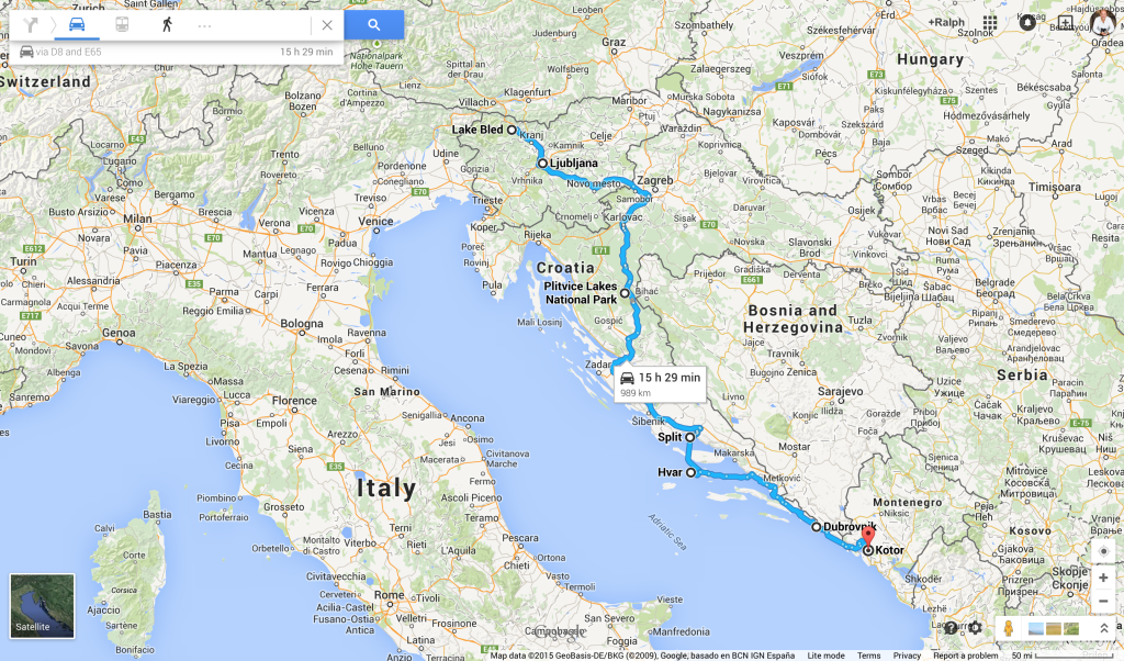 Map of Highlights of the Adriatic tour
