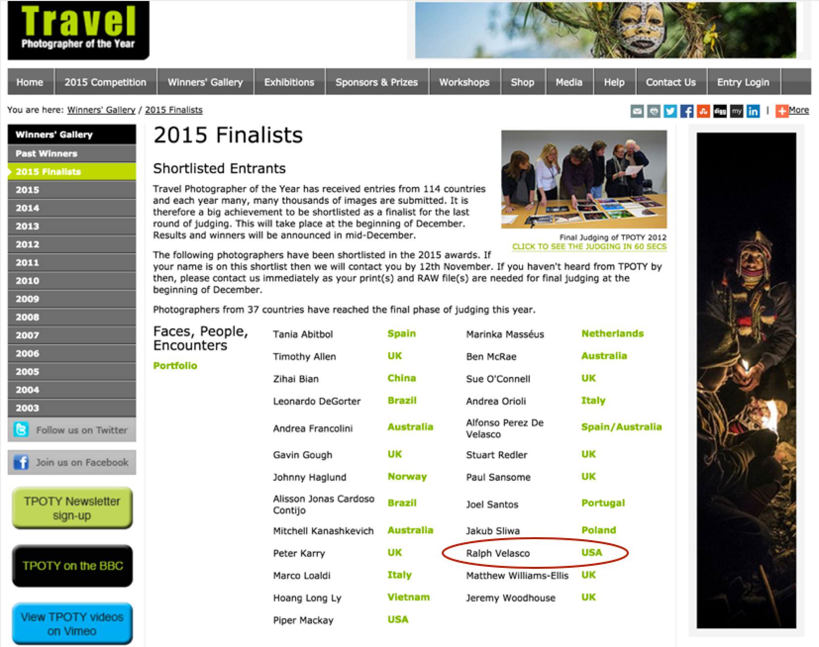 Screenshot of Travel Photographer of the Year Finalists page.