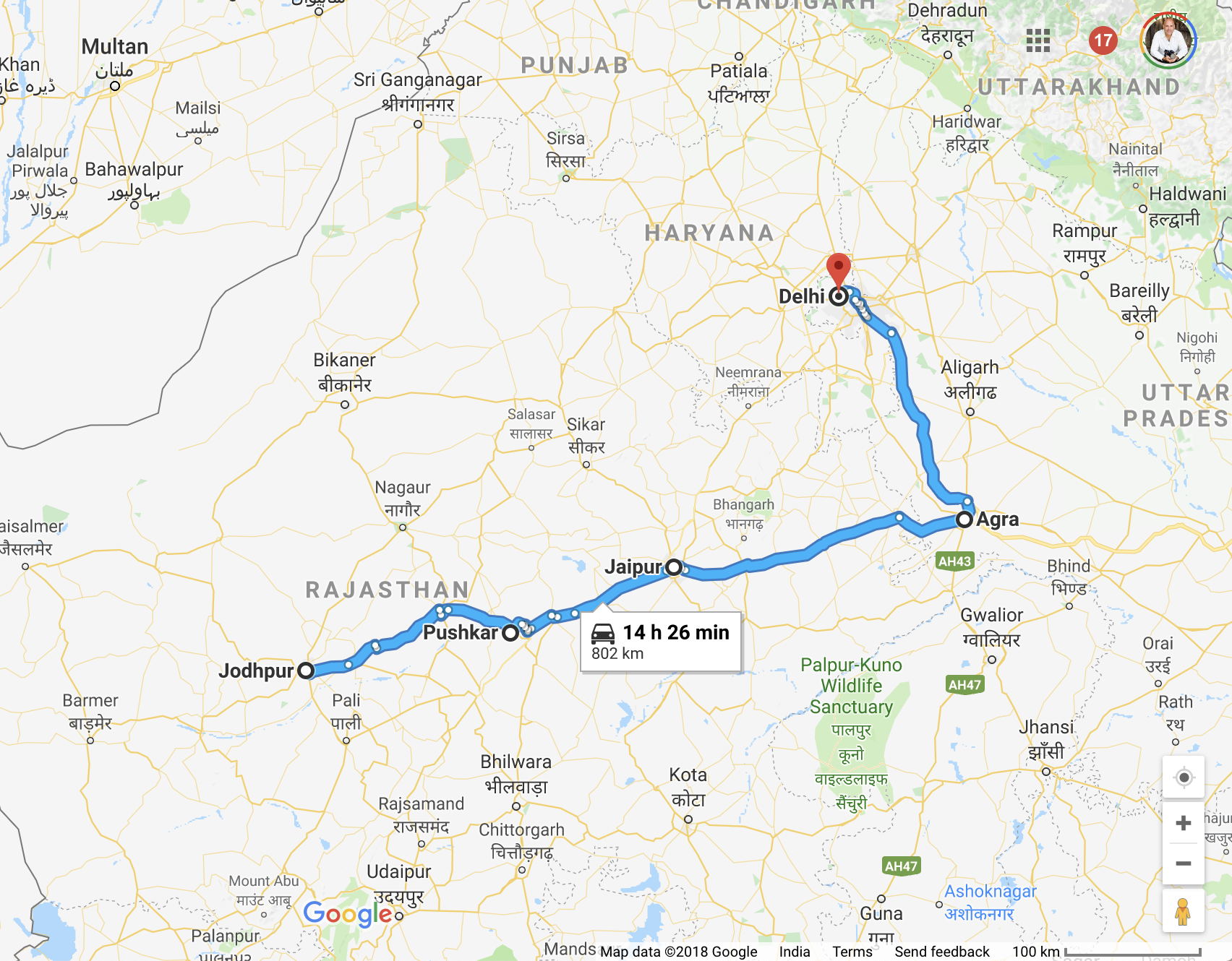 Map of PhotoEnrichment Adventures' 2019 India Trip
